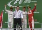 Il podio del GP d'Italia: Nico Rosberg, Lewis Hamilton e Sebastian Vettel