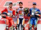 Il podio del Gran Premio del Giappone: Marquez, Dovizioso e Vinales