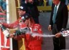 Michele Alboreto con l'altro ferrarista Gerhard Berger sul podio del GP d'Italia 1988