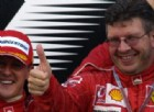 Michael Schumacher e Ross Brawn insieme sul podio