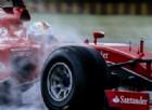 Sebastian Vettel in azione a Fiorano con la SF15-T e le gomme Pirelli da bagnato