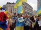 Manifestazioni pro-Ucraina sotto il Consiglio Ue nel marzo 2014.