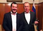 Il leader della Lega Nord, Matteo Salvini, in occasione della visita al ministro degli Esteri russo Lavrov a Mosca