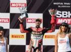 Chaz Davies sul podio di gara-1 a Buriram