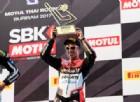Marco Melandri sul terzo gradino del podio di gara-2 in Thailandia