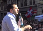Bagno di folla per il leader della Lega nord, Matteo Salvini, che ha ri-animato per qualche attimo il centro della sonnolenta Biella