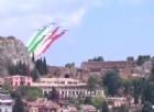 Il passaggio delle Frecce Tricolori su Taormina