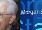 L'ex premier Mario Monti e il logo di Morgan Stanley