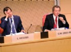 Carlo Messina, CEO di Intesa Sanpaolo, e Gian Maria Gros-Pietro, presidente di Intesa Sanpaolo, durante l'assemblea ordinaria degli azionisti per l'approvazione del bilancio 2016 presso il grattacielo della Banca Intesa Sanpaolo, Torino