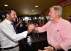 Il segretario della Lega Matteo Salvini e il sindaco di Genova Marco Bucci