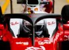 La Ferrari di Sebastian Vettel prova Halo durante il GP di Gran Bretagna 2016