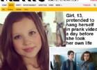 Ragazza di 13 anni finge di impiccarsi in un video-scherzo il giorno prima di suicidarsi davvero