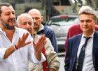 Il viceministro alle Infrastrutture Edoardo Rixi con il vicepremier Matteo Salvini in visita agli sfollati di Genova