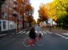 Signora in bici ignora il semaforo e rischia di essere investita da un bus