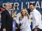 Antonio Tajani, Giorgia Meloni e Matteo Salvini sul palco della manifestazione del centrodestra