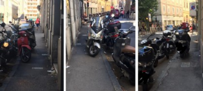 Sosta selvaggia: sempre più motorini sui marciapiedi