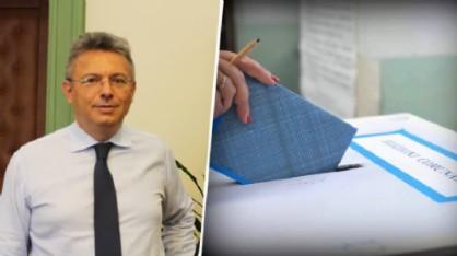 Marco Cavicchioli ed un'urna elettorale