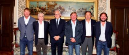 L'assessore Rossi, i presidenti regionali del Coni Brandolin e della FIGC Canciani, il consigliere Edera, l'a.d. della Triestina Milanese e Franco Bonanno