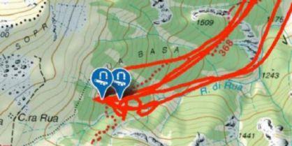 Uno stralcio della mappa con le tracce delle rotazioni dell'elicottero sul punto individuato