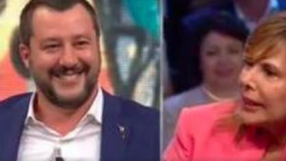 Il vicepremier e ministro dell'Interno Matteo Salvini a DiMartedì e la giornalista Maria Latella