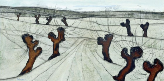 Danza di gelsi con ultima neve - 1981 - Tecnica mista su tavola - cm 50x70
