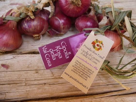 Una treccia di cipolle etichettata Slow Food