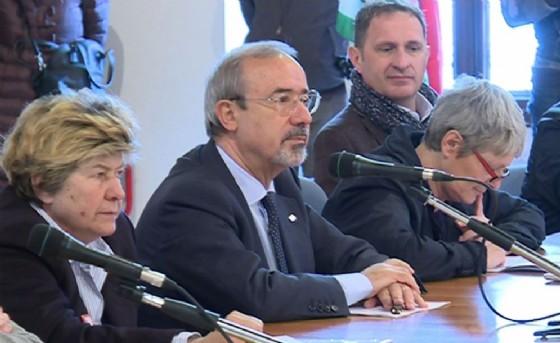 Camusso e gli altri leader nazionali dei sindacati a Venzone (© Regione Friuli Venezia Giulia)