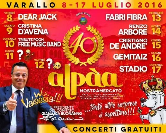 Il programma ufficiale dell'Alpaà 2016