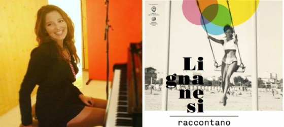 Laura Furci a sinistra e a destra la locandina dedicata all'appuntamento di Lignano (© Visionario e associazione Lignano nel Terzo Millennio)