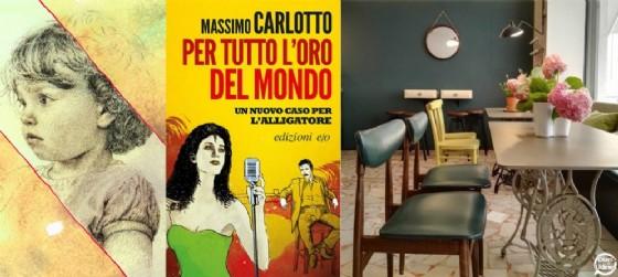 Da sinistra, uno dei lavori di De Sabbata, la copertina del libro di Carlotto, gli interni di Ortofficina