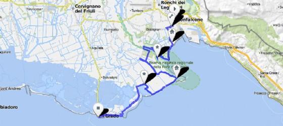 Il tracciato della nuova pista ciclabile Grado-Monfalcone (© bikemap.net | Patrick Maggiore)