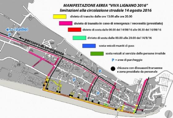 La piantina stradale con le modifiche alla viabilità in occasione dell'Air Show delle Frecce Tricolori (© Comune di Lignano)