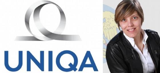 Barbara Zilli accanto al logo Uniqa