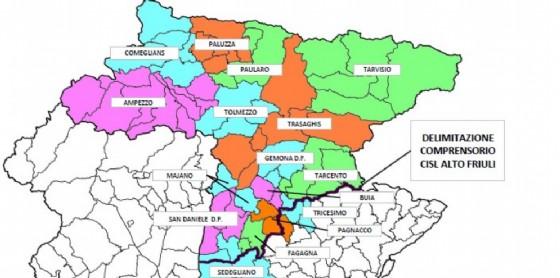 La cartina con gli istituti comprensivi dell'Alto Friuli (© Cisl Alto Friuli)