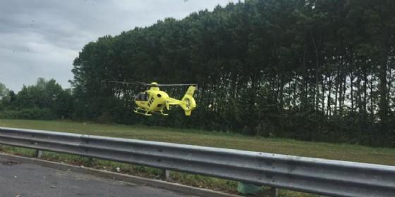 Sul luogo dell'incidente anche l'elicottero (© Diario di Udine)