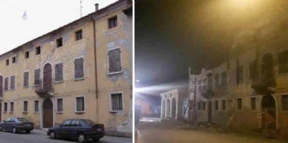 L'edificio prima e dopo il crollo (© Diario di Udine)