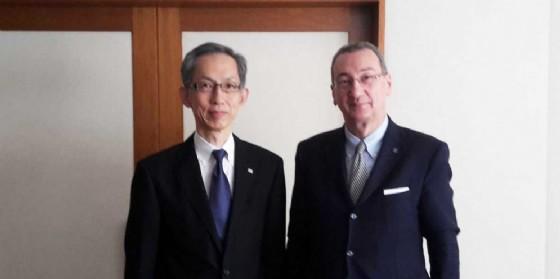 Toshiyuki Harada (Presidente Mangiarotti S.p.A. - Toshiba Corporation) e Sergio Bolzonello (© Regione Fv)