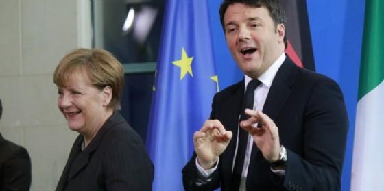 Il premier Matteo Renzi e la cancelliera tedesca Angela Merkel.