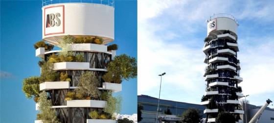 La Torre ABS, nuova casa del marchio aziendale, svolge un ruolo funzionale importante rappresentando la riserva idrica di emergenza di una tra le macchine di colata continua (© ABS a sinistra   Diario di Udine a destra)