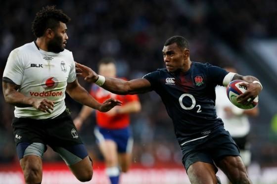 England coach Eddie Jones praised Fiji-born wing Semesa Rokoduguni (R), who marked his second England cap with two tries