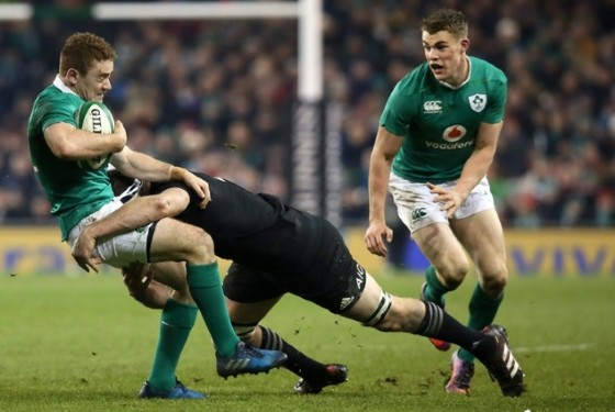 Ireland's Paddy Jackson is tackled during the rugby union test match against New Zealand in Dublin on November 19, 2016