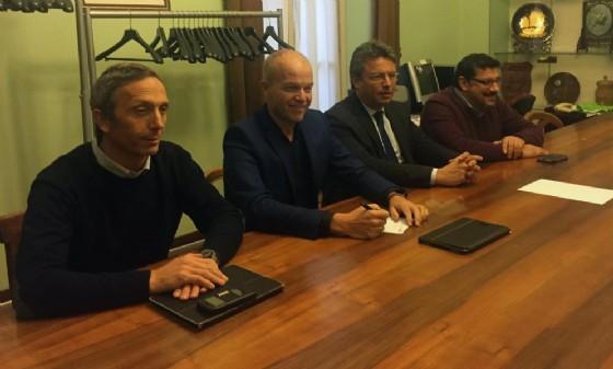 Un momento della conferenza stampa dei giorni scorsi con gli amministratori di Biella e Gaglianico
