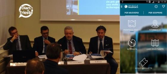 La presentazione della nuova app di Trieste Trasporti (Michele Scozzai, Aniello Semplice, Pier Giorgio Luccarini  e Maurizio Bucci)
