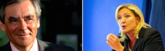 I due candidati alle presidenziali francesi François Fillon e Marine Le Pen