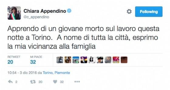 Il tweet della sindaca Chiara Appendino