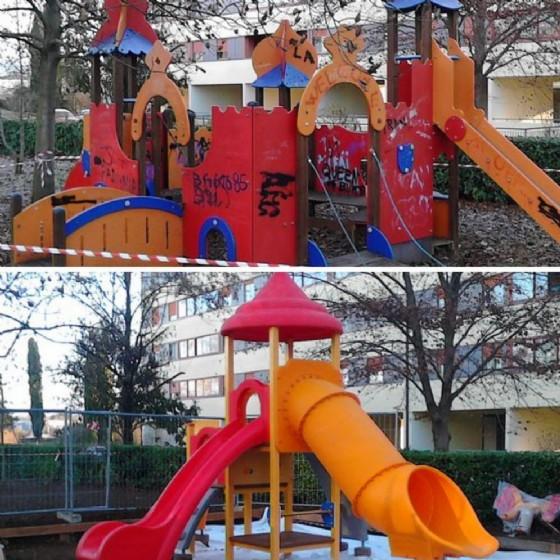 I giochi sostituiti in via Mantova (© Comune Udine)