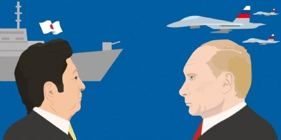 Un'illustrazione di Shinzo Abe e Vladimir Putin. (© vector_brothers / Shutterstock.com)