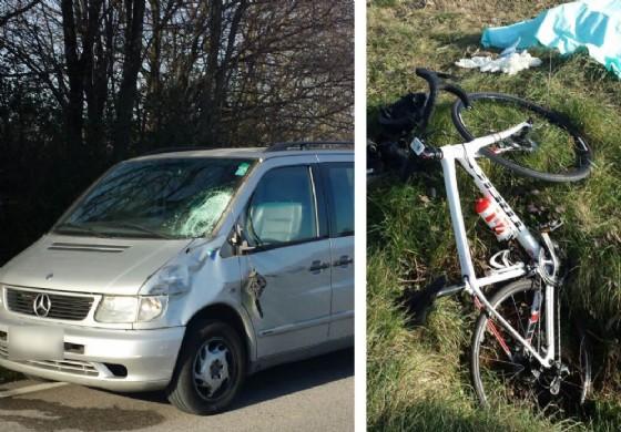 La bici del ciclista e l'auto che ne ha causato la morte (© G.G.)
