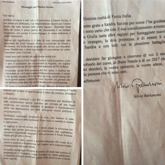 La lettera inviata da Berlusconi