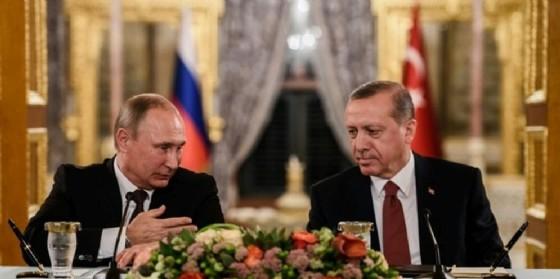 Il presidente russo Vladimir Putin e quello turco Tayyp Recep Erdogan.
